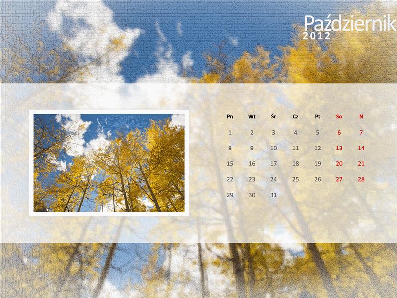 Kalendarz na rok 2012 z fotografiami — czwarty kwartał