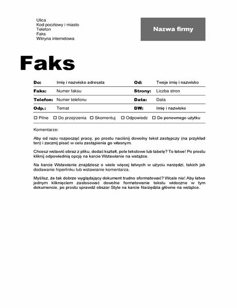 Strona tytułowa faksu (projekt Profesjonalny)