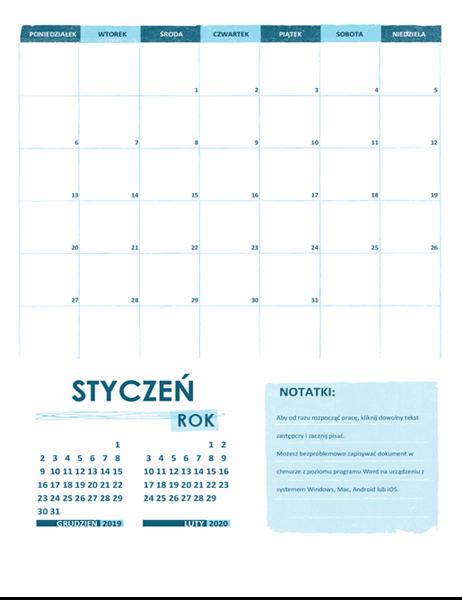 Kalendarz akademicki (jeden miesiąc, dowolny rok, początek w poniedziałek)