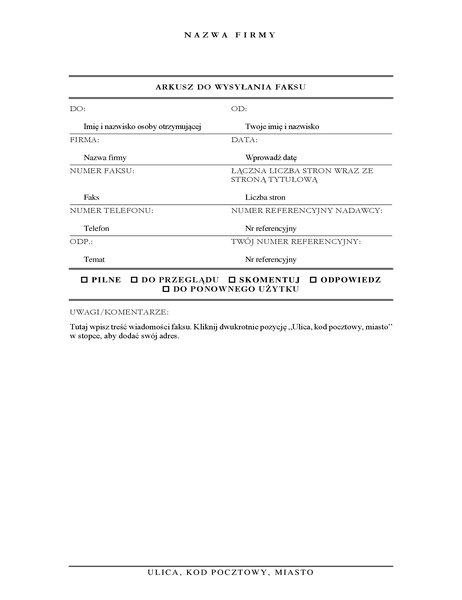 Arkusz strony tytułowej faksu (elegancki)