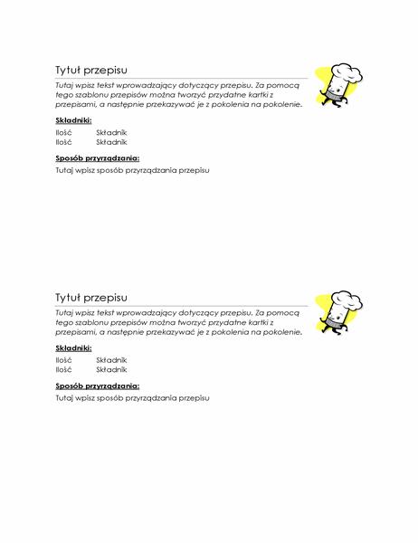 Kartki z przepisami (2 na stronie)