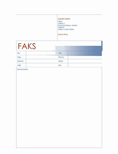 Strona tytułowa faksu (motyw niebieski)