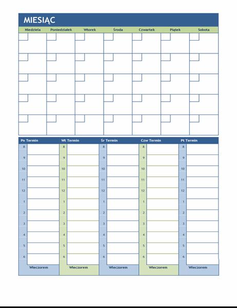 Miesięczny i tygodniowy kalendarz planowania