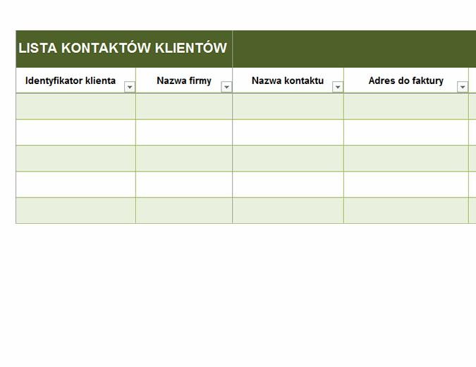 Podstawowa lista kontaktów klientów