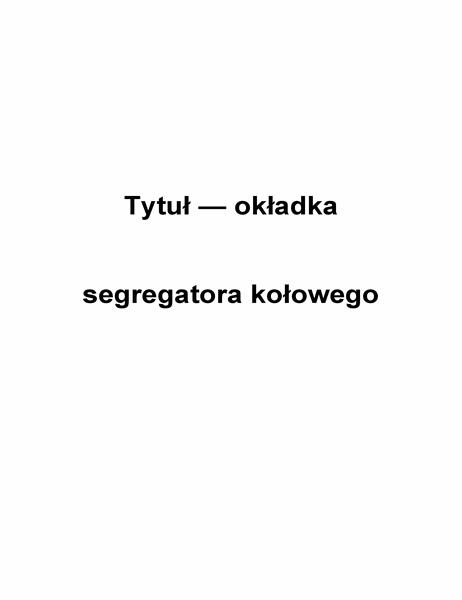 Okładka segregatora