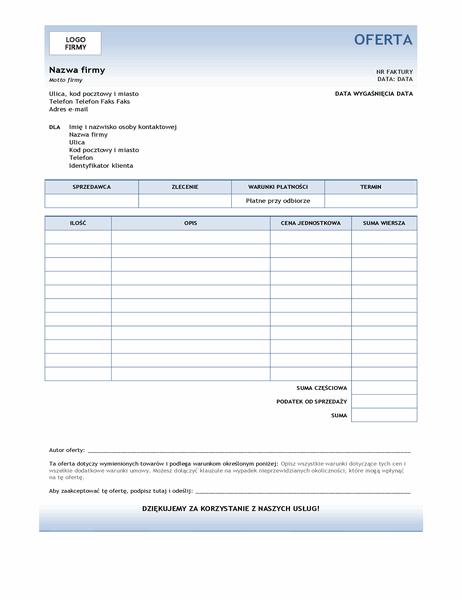 Oferta usługi (projekt Niebieski gradient)