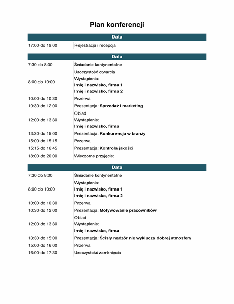 Plan wydarzeń na konferencji