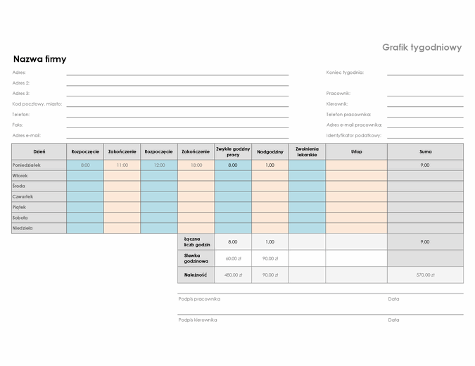 Grafik tygodniowy (21,6 x 27,9 — poziomy)