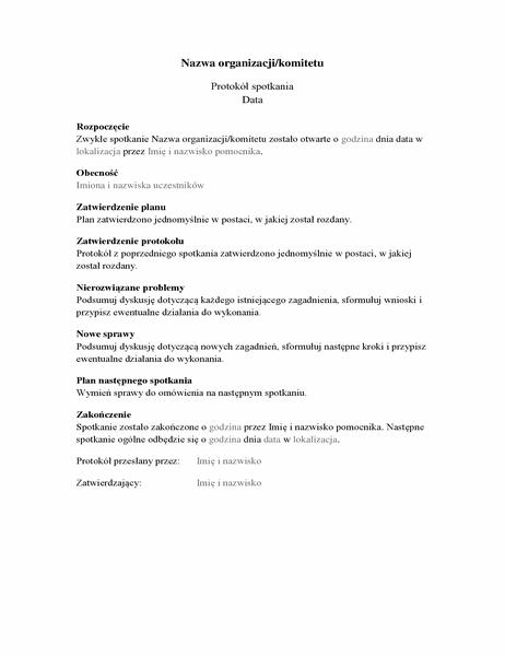 Protokół spotkania organizacyjnego (wersja długa)