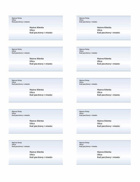 Etykiety wysyłkowe (projekt z niebieskim gradientem, 10 na stronie)