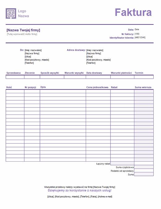 Faktura sprzedaży (projekt linii prostych)