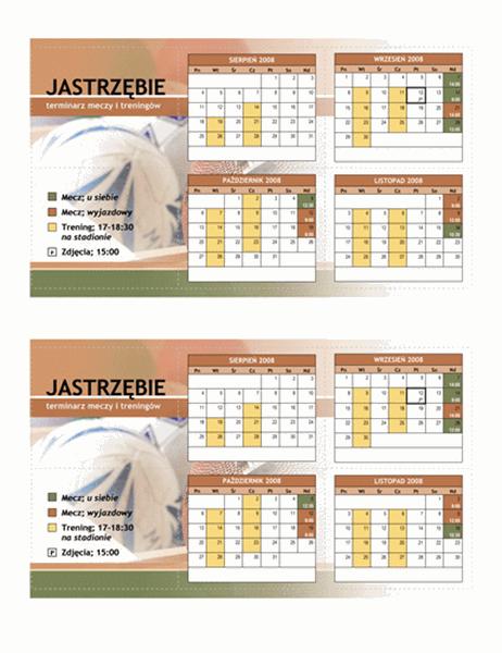 Kieszonkowy terminarz drużyny sportowej juniorów 2008 (miesiące jesienne)