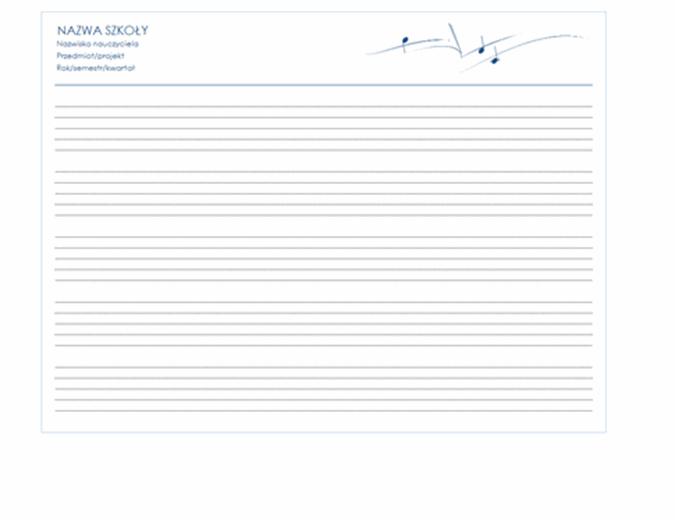 Pięciolinia uniwersalna (układ poziomy, 5 stron)