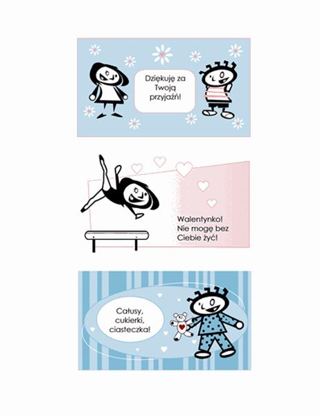 Walentynki wykonywane własnoręcznie dla dzieci (4 strony projektów kart i jedna uniwersalna strona tylna)