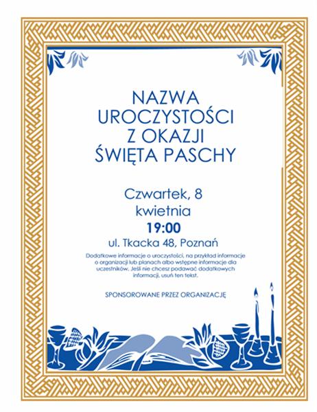 Ulotka z zaproszeniem na uroczystość Paschy