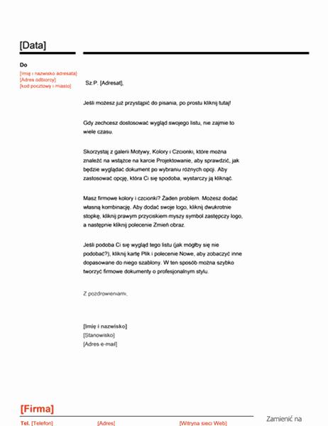 Nagłówek listowy (projekt Czerwono-czarny)