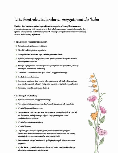 Ślubna lista kontrolna (akwarela)