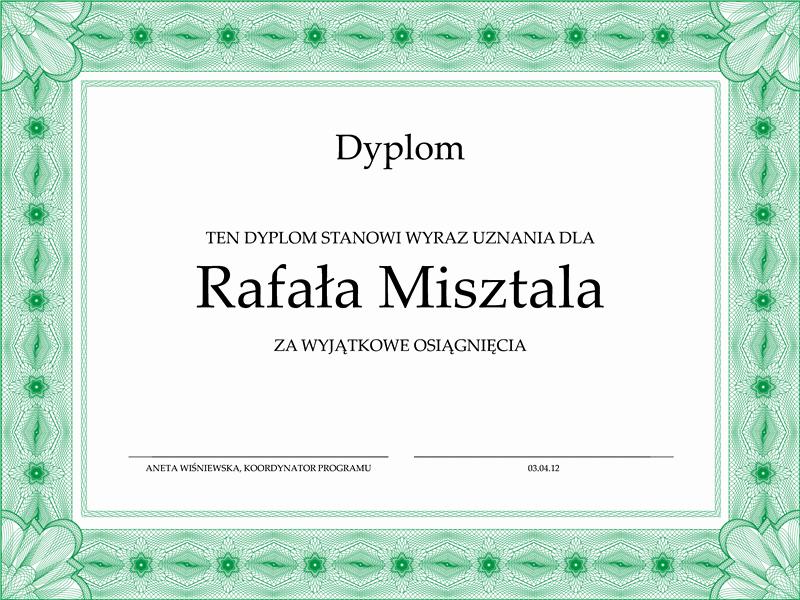 Dyplom (oficjalne, zielone obramowanie)