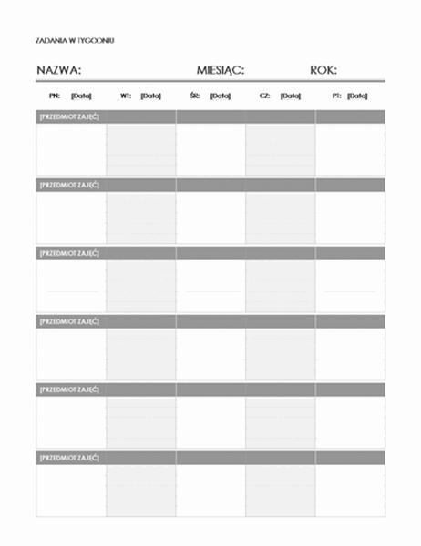 Kalendarz zadań w tygodniu