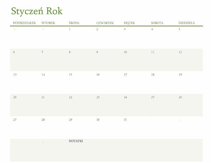 Kalendarz na dowolny rok (1 miesiąc na kartę)