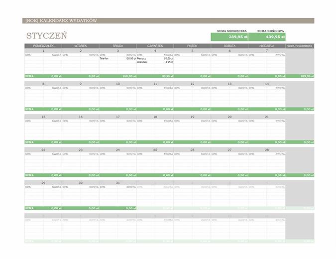 Kalendarz wydatków na dowolny rok