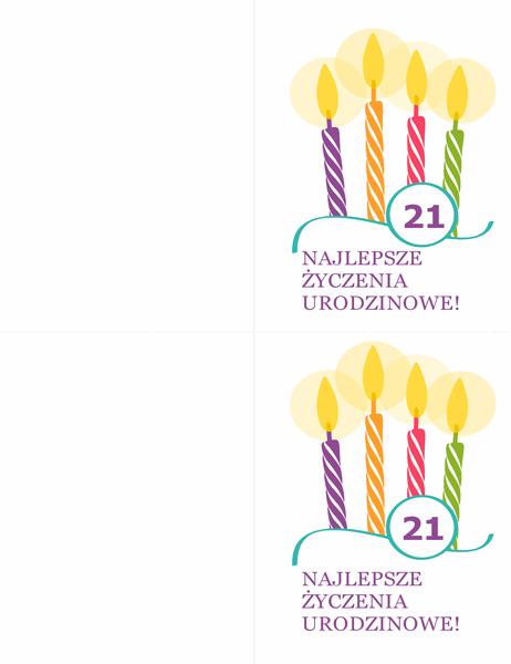 Kartki urodzinowe (2 na stronie, do papieru Avery 8315)