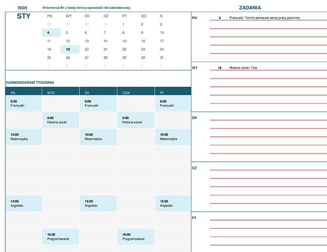 Kalendarz dla uczniów i studentów (miesięczny)