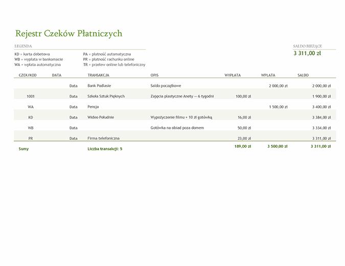 Rejestr rachunku bieżącego z kodami transakcji