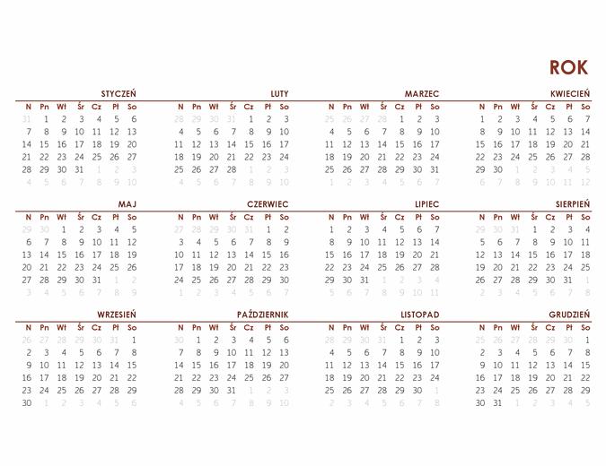 Całoroczny kalendarz globalny