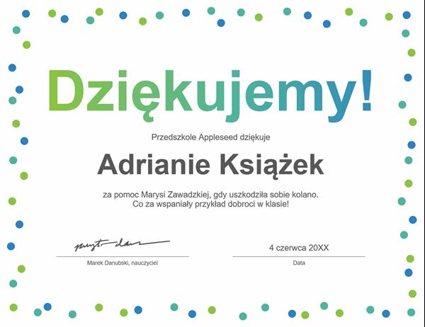 Dyplom z podziękowaniami