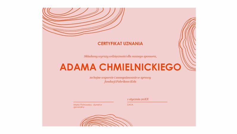 Dyplom uznania dla sponsora