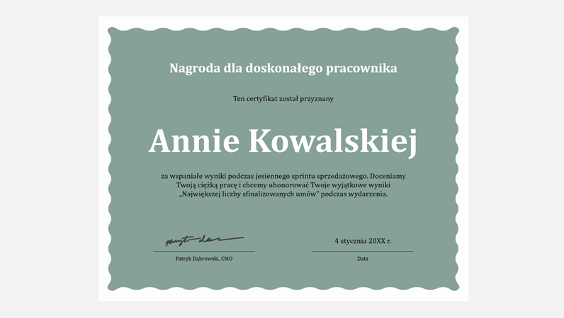 Certyfikat doskonałości dla pracownika