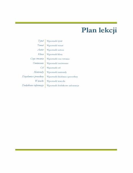 Plan lekcji nauczyciela