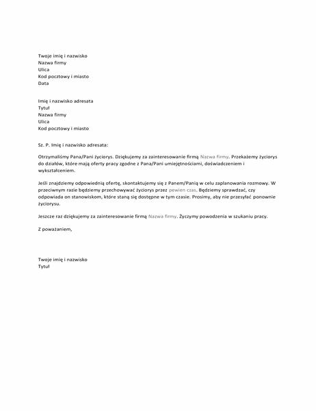 List do kandydata potwierdzający otrzymanie zgłoszenia