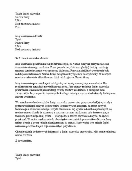 List z referencjami dla profesjonalisty