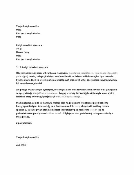 List z prośbą o rozmowę informacyjną