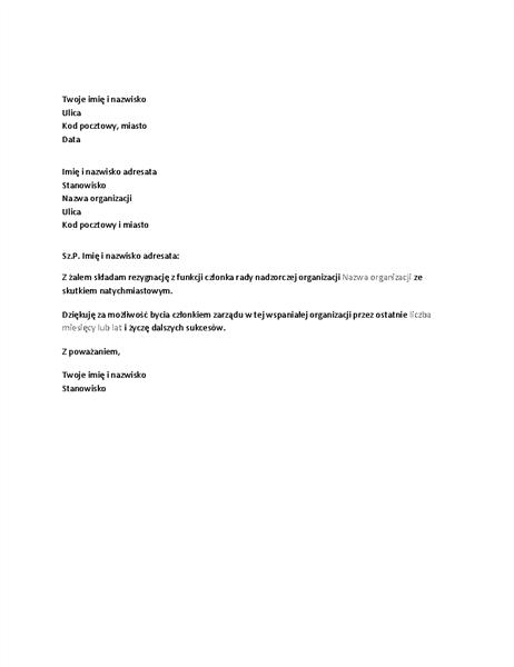 Pisemna rezygnacja z funkcji członka rady nadzorczej