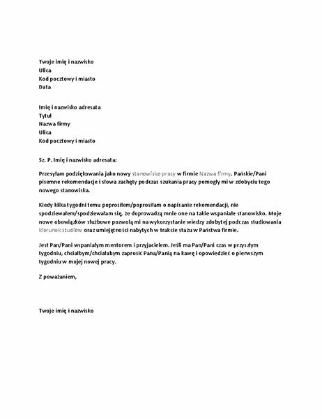 List z podziękowaniami za referencje napisane przez byłego przełożonego