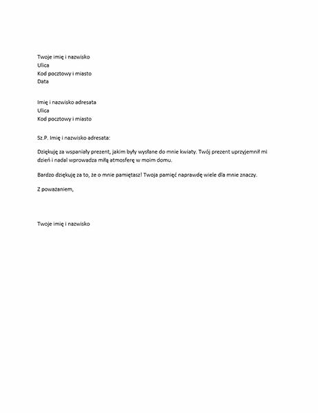List z podziękowaniami za osobisty prezent