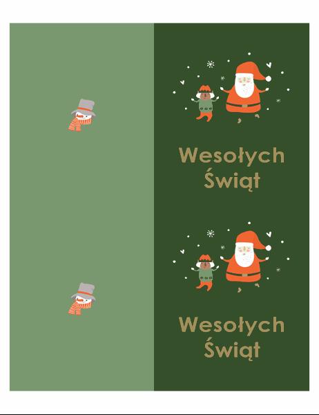 Kartki bożonarodzeniowe (projekt atmosfery Bożego Narodzenia, 2 na stronę, do papieru Avery)