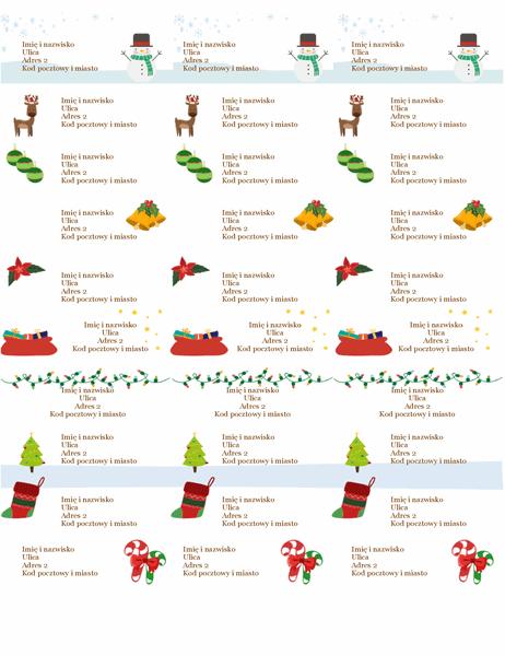 Etykiety na prezenty (projekt atmosfery Bożego Narodzenia, 30 na stronie, pasują do papieru Avery 5160)