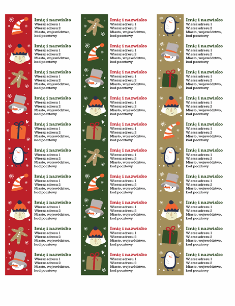 Etykiety adresowe (projekt atmosfery Bożego Narodzenia, 30 na stronie, pasują do papieru Avery 5160)