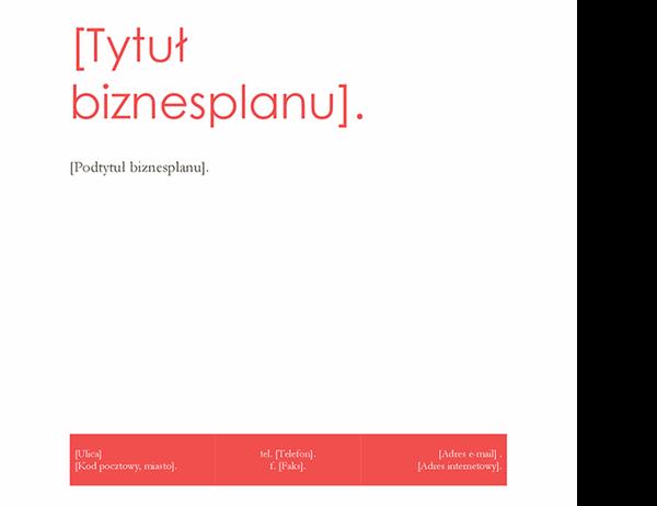 Plan biznesowy (projekt Czerwony)