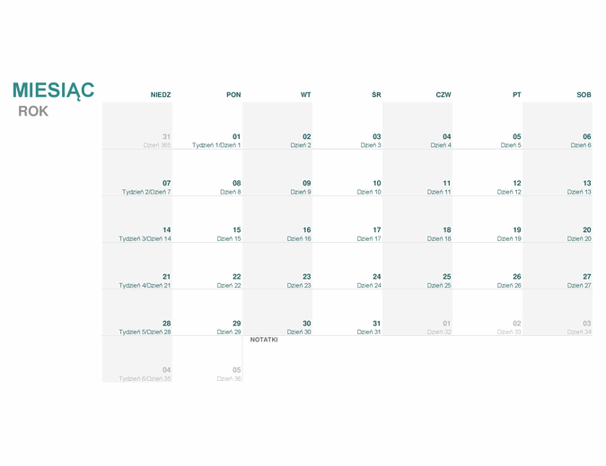 Kalendarz juliański (dowolny rok)