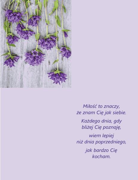 Kartka walentynkowa z wierszem (składana na cztery)