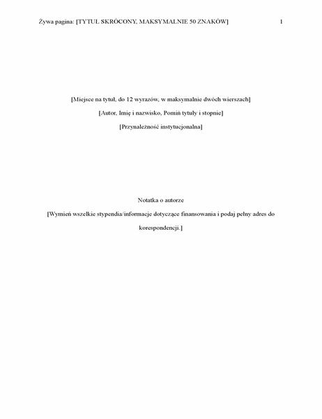 Raport w stylu APA (6. edycja)