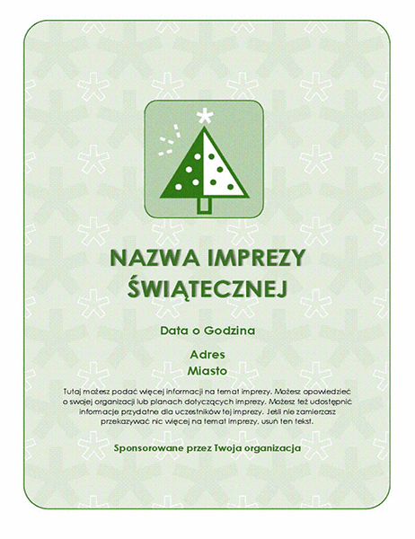 Ulotka z zaproszeniem na imprezę świąteczną (z zielonym drzewem)