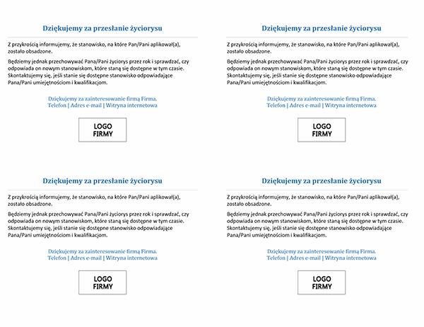 Pocztówka dla kandydatów do pracy w przypadku obsadzonego stanowiska (4 na stronie)