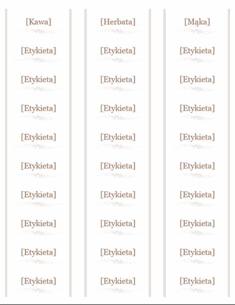 Etykiety na słoiki (projekt Naczynie, 30 na stronie, pasują do papieru Avery 5160)