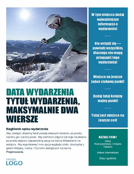 Ulotka z zaproszeniem na wydarzenie sezonowe (zima)